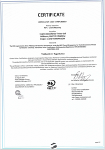 English Woodlands Timber Ltd PEFC chain of custody certificate CU-COC-805623