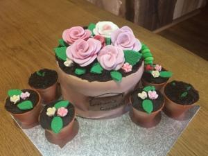 Graham's Birthday Cake shaped like flowerpots ready for teatime