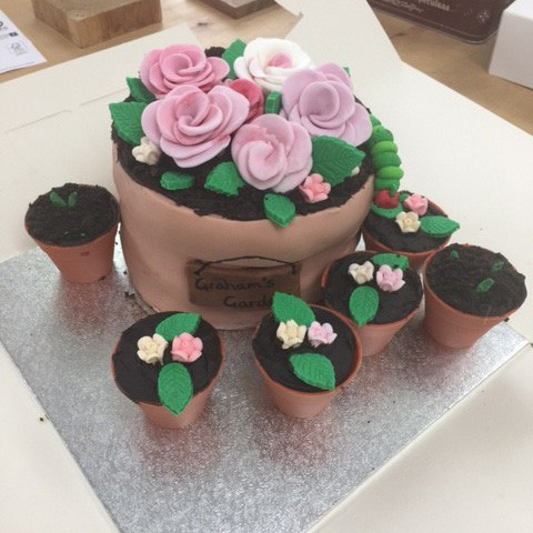 Graham's Birthday Cake shaped like flowerpots 5